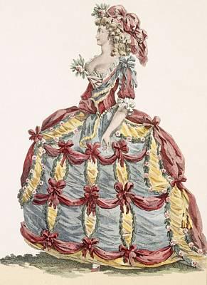 Royal Court Drawing - Ladys Gown For Cour A Leiquette by Augustin de Saint-Aubin