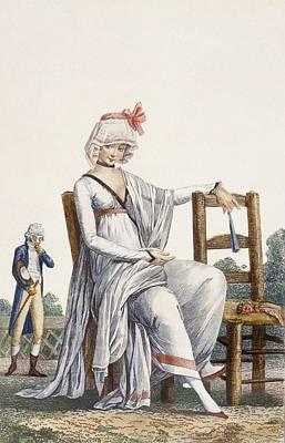 Shawl Drawing - Ladys Promenade Dress, 1800 by Philibert Louis Debucourt