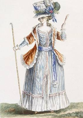 Stripe Drawing - Ladys Shepherds-style Dress, Engraved by Pierre Thomas Le Clerc