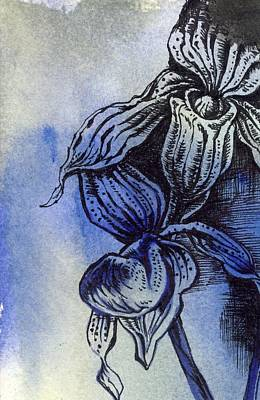 Art Mobile Mixed Media - Ladyslipper In Blues by Alfred Ng