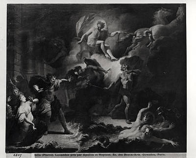 Laemedon Punished By Apollo And Poseidon, 1707 Oil On Canvas Bw Photo Art Print by Pierre Dulin
