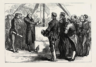 Bunker Hill Drawing - Lafayette Laying The Cornerstone Of The Bunker Hill Monument by American School