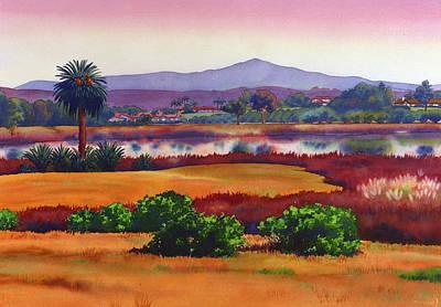 Lago Lindo Rancho Santa Fe Dusk Art Print by Mary Helmreich
