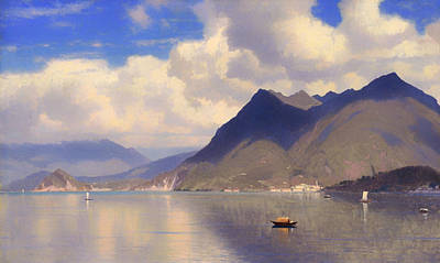 Antique Italian Oil Painting - Lago Maggiore  by Mountain Dreams