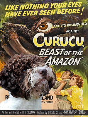 Custom Dog Art Painting - Lagotto Romagnolo Art Canvas Print - Curucu Movie Poster by Sandra Sij