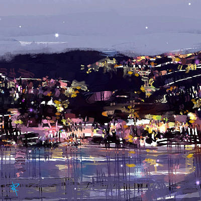 Seaside Mixed Media - Laguna At Night by Russell Pierce