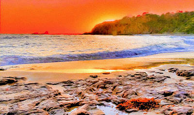 Painting - Laguna Beach At Sunset by Bob and Nadine Johnston