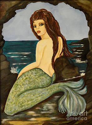 Painting - Laguna Beach Cave Dweller Mermaid by Valarie Pacheco