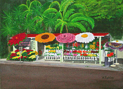 Laguna Beach Flower Stand Print by Mike Robles