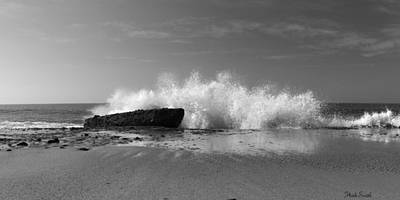 Photograph - Laguna Beach Pano - Black And White by Heidi Smith