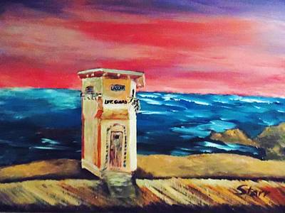 Horses In The Ocean Painting - Laguna Lifeguard Tower by Irving Starr