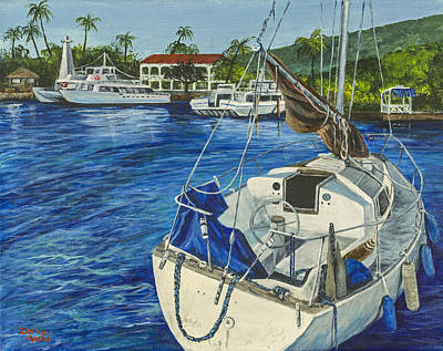 Historic Lighthouses Painting - Lahaina Yacht by Darice Machel McGuire