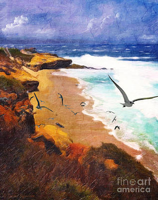 Seagull Digital Art - Lajolla Afternoon by Lianne Schneider