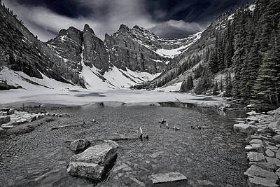 Photograph - Lake Agnes - Black And White by Stuart Litoff