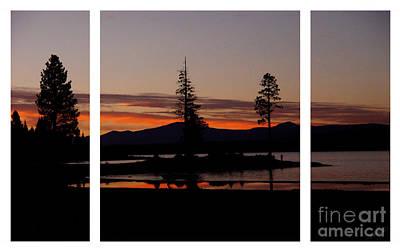 Digital Art - Lake Almanor Sunset Triptych by Peter Piatt