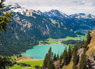 Farm Life Paintings Rob Moline - Lake and mountains in Austria by Matthias Hauser