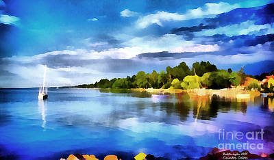Water Filter Painting - Lake Balaton At Summer by Odon Czintos