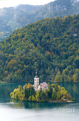 Photograph - Lake Bled Island - Autumn by Phil Banks