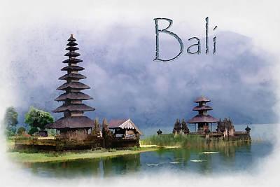 Indonesia Painting - Lake Bratan Bali Indonesia Text Bali by Elaine Plesser
