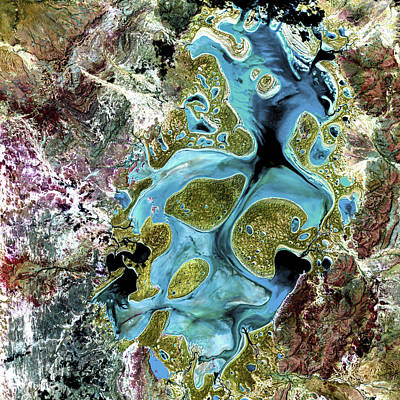 Abstract Map Photograph - Lake Carnegie Western Australia by Adam Romanowicz