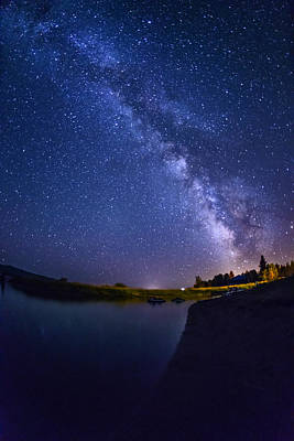 Lake Cascade And Milky Way Print by Vishwanath Bhat