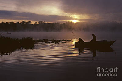 Photograph - Lake Cassidy With Silhouetted Fishermen by Jim Corwin