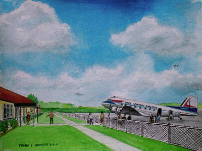 Dc-3 Painting - Lake Central Deplaning At Portsmouth Ohio by Frank Hunter