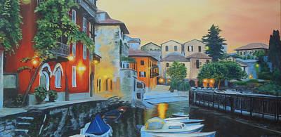 Lake Como Painting - Lake Como At Sunset by Sue Birkenshaw