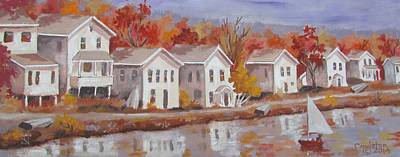 Painting - Lake Cottages by Tony Caviston