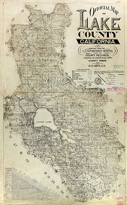 Lake County California Map Print by Jon Neidert