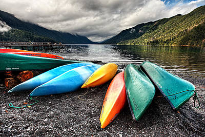 Lake Crescent Kayaks Art Print