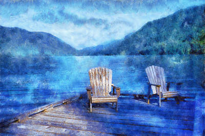 Canoe Digital Art - Lake Crescent by Kaylee Mason