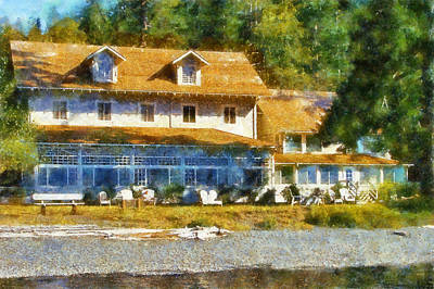 Canoe Digital Art - Lake Crescent Lodge by Kaylee Mason