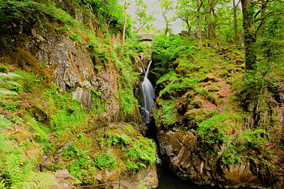 Aira Force Wall Art - Photograph - Lake District Waterfall Aira Force Waterfall Ullswater Valley Cumbria England Uk  by Michael Charles