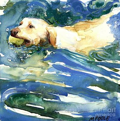 Yellow Labrador Retriever Painting - Lake Effect by Molly Poole