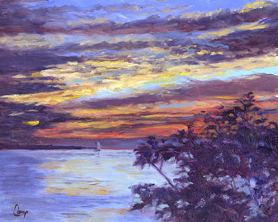 Summer Isles Painting - Lake Erie Sunset by Michael Camp