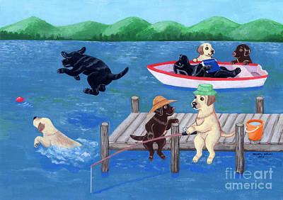 Chocolate Labrador Retriever Painting - Lake Fun Labradors by Naomi Ochiai