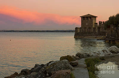 Lake Garda Sunset With The Tower Of The Scaliger Castle Art Print by Kiril Stanchev