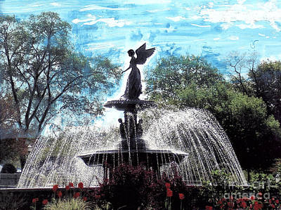 Night Angel Mixed Media - Lake Geneva Wi Angel Of The Water Fountain by Jane Butera Borgardt