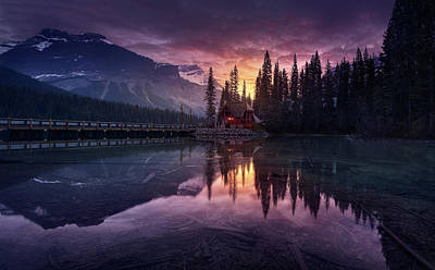 Fir Trees Photograph - Lake House Sunrise by Jes?s M. Garc?a