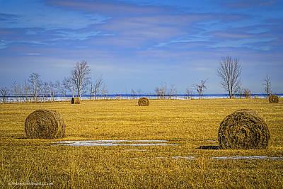 Bale Photograph - Lake Huron Hay Bales by LeeAnn McLaneGoetz McLaneGoetzStudioLLCcom