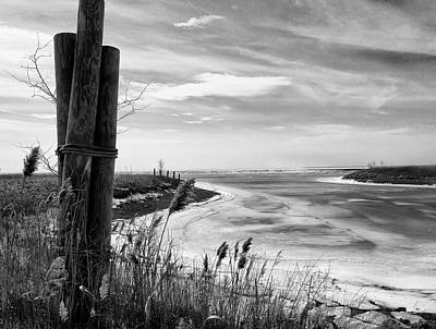 Lake Ice Bw Art Print by Peter Chilelli