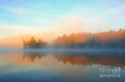 Photograph - Lake In Autumn Fog by Charline Xia