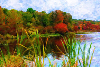 Digital Art - Lake In Early Fall by Chuck Mountain