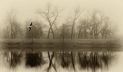 Photograph - Lake In Fog Sepia by Tony Grider
