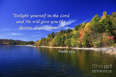 Psalm Photograph - Lake In The Fall With Scripture by Jill Lang