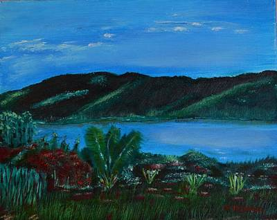 Art Print featuring the painting Lake In The Mountains by Melvin Turner