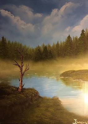Painting - Lake In The Woods  by Justin Wozniak