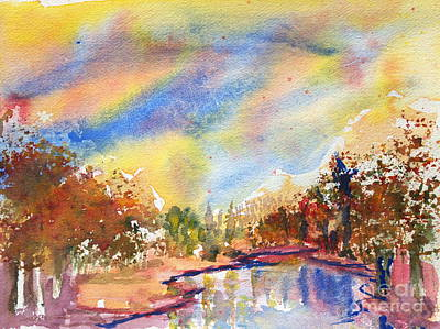 Painting - Lake In The Woods by Walt Brodis