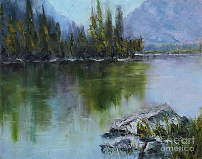 Pallet Knife Painting - Lake Irwin by Linda Mooney